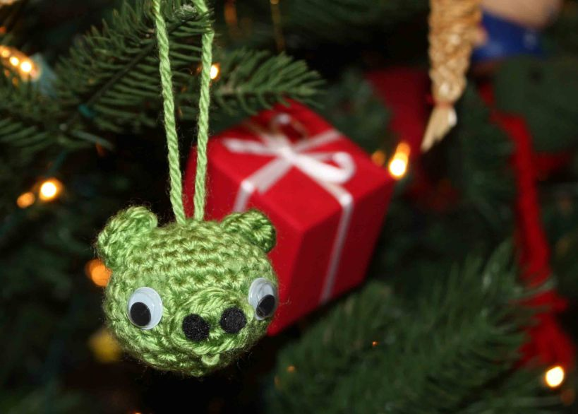 Green pig Christmas ornament 2