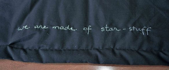 Large Hadron Collider quilt Carl Sagan quote
